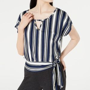 BCX Juniors' Striped Tie-Front Top NWT